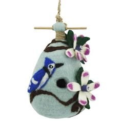 Chinaberry Blue Jay Felt Birdhouse -- Click image to review more details.