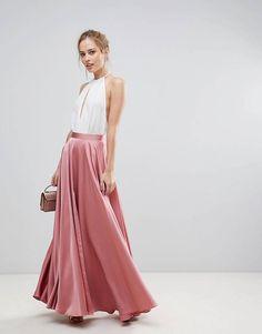 ASOS Satin Maxi Skirt with Centre Front Split