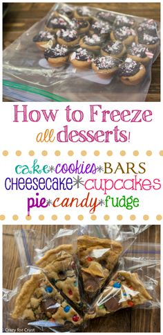 How to Freeze Desserts - freeze cakes and cookies, bars, candy and even pie all in advance of the holidays! (Pie Baking Tips) Holiday Cookies, Holiday Treats, Christmas Treats, Holiday Recipes, Christmas Recipes, Holiday Cupcakes, Candy Cookies, Freezer Desserts, Freezer Cooking