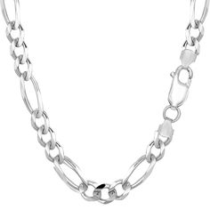 Sterling Silver Rhodium Plated Figaro Bracelet - Length 8.5 Inch
