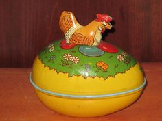 "Vintage J. Chein Tin ""Easter Candy Container"" ~ 5"" long Egg with Chicken on top"