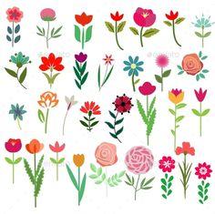 Flowers Set - Seasons Nature Watercolor Plants, Watercolor Artists, Watercolor Cards, Watercolor Paintings, Minimal Drawings, Art Drawings, Tissue Paper Art, Floral Banners, Flower Doodles