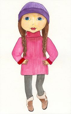 Watercolor girl #11 - Delilah