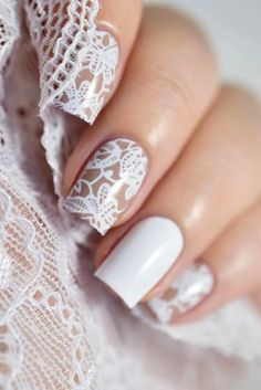 Nail art is a very popular trend these days and every woman you meet seems to have beautiful nails. It used to be that women would just go get a manicure or pedicure to get their nails trimmed and shaped with just a few coats of plain nail polish. Wedding Day Nails, Wedding Nails Design, Wedding Designs, Vintage Wedding Nails, Wedding Nails For Bride Natural, Lace Nail Design, Wedding Manicure, Red Wedding Nails, Simple Wedding Nails