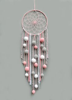 Pink nursery dream catcher Kids room decor wall hanging Christmas gift for baby girl Dreamcatcher with pompoms Baby shower gift - This pink, gray and white dream catcher is a beautiful room for baby girl room. Dream Catcher Pink, Dream Catcher Nursery, Dream Catcher Craft, Diy Dream Catcher For Kids, Dream Catcher Mobile, Homemade Dream Catchers, Making Dream Catchers, Doily Dream Catchers, Nursery Decor