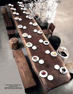 large walnut dining / conference table, w/ other custom bench, chair, and stool furniture; #island #style #pinterest