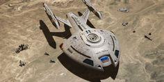 USS Twilight, Nova Class Starship, having landed on a planet. During the Dominion War. Star Trek Starships, Star Trek Enterprise, Star Trek Voyager, Star Citizen, Starfleet Ships, Alien Ship, Ship Of The Line, Star Wars, Star Trek Rpg