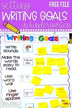 Set writing goals in the classroom to meet those grade level expectations. Writing goals anchor chart FREEBIE! #kindergartenwriting #writinggoals