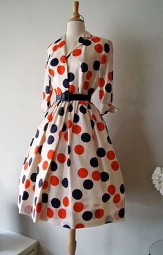 1950's Silk Polka Dot Print Dress by Miss Brooks Red White and Blue Dots.