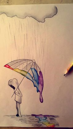 Rainbow Rain - # Rain # Rainbow # Drawing - Best pins - Drawing Still 2020 Sad Drawings, Cool Art Drawings, Pencil Art Drawings, Art Drawings Sketches, Disney Drawings, Drawing Ideas, People Drawings, Drawing Poses, Drawing People