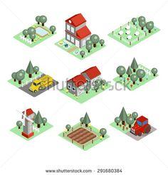 Detailed illustration of a Isometric Farm Set Tiles