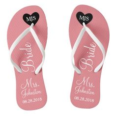 #monogram - #Bride Wedding Favor Name or Initials Script Flip Flops