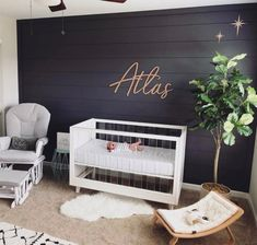 The second star to the right, shines in the night for you. This Nod to Neverland nursery is so chic. Image: The second star to the right, shines in the night for you. This Nod to Neverland nursery is so chic. Baby Bedroom, Baby Boy Rooms, Baby Boy Nurseries, Baby Room Decor, Nursery Room, Boy Nursery Art, Nursery Artwork, Babies Nursery, Nursery Modern