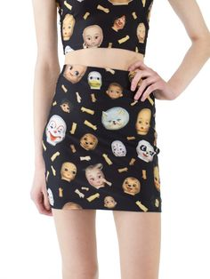 Doll Parts mini skirt.  Original print by Joseph Aaron Segal for Pretty Snake.    86% Polyester  14% Spandex  Made, Printed and Designed in USA with
