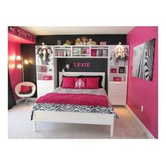 Lexie's Hot Pink and Black Zebra Bedroom Girls' Room Designs Decor ❤ liked on Polyvore