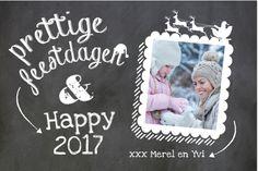 Liggende foto kerstkaart met krijtbord print en kerst icoontjes. Vervang de voorbeeld foto! Gratis verzending in Nederland en België. Enveloppen zijn los bij te bestellen.