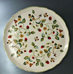 James Kent Old Foley Strawberry with Butterfly Green Edge Cake Plate England $19.95