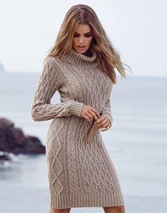 Lipsy Cable Knit Cowl Neck Dress