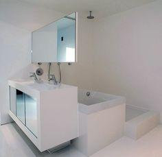 Compact bathroom design by123dv architecture// white-zen-minimalist-shape-distribution-idea-mirror