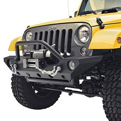 GSI 07-16 Jeep Wrangler JK Front Bumper with OE Fog Light Hole and Winch Mount Plate-Black Textured (Black)