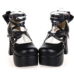 Handmade Black PU Leather 9.5cm High Heel Classic Lolita Shoes with Bow 2016 - €58.79