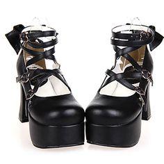 Handmade Black PU Leather 9.5cm High Heel Classic Lolita Shoes with Bow 2016 - €58.79