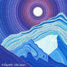 Snow covered mountains by Elspeth McLean Rock Painting Patterns, Dot Art Painting, Mandala Painting, Stone Painting, Aboriginal Dot Art, Elspeth Mclean, Mandala Dots, Mountain Paintings, Australian Art