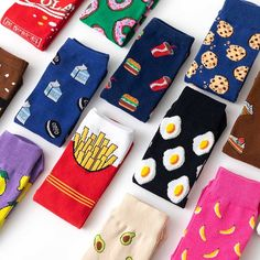 Women Socks Funny Cute Cartoon Fruits Banana Avocado Lemon Egg Cookie Donuts Food Socks Gender: Women Item Type:SockMaterial:CottonThickness:STANDARDModel Length:one sizeSock Type:CasualPattern Type:CartoonObscene Picture:No Size EU US Note: Please allo Funky Socks, Crazy Socks, Cute Socks, My Socks, Colorful Socks, Funny Socks For Men, Happy Socks, Food Socks, Cute Egg