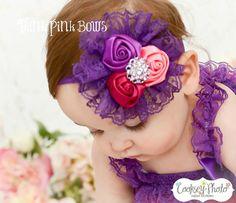 Baby Heaband,Lace Headband,satin headband, baby headbands,vintage inspired headband,shabby chic headband,Hair bows, baby bows
