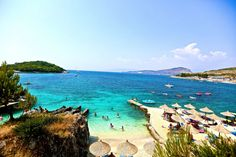 Albania: Ksamil Beach is the jewel of the Albanian Riviera, with dazzling white sand, turquoise water, and three idyllic islands in the bay.