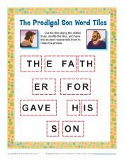 Children's Bible Story Word Tile Activity - The Prodigal Son