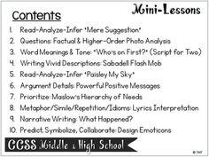 Mini-Lessons Editable for Teens Middle & High School English Language Arts
