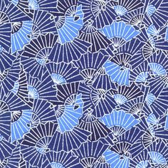 Blue fans; #Japanese #textiles #patterns
