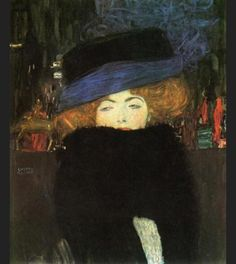 Gustav Klimt ;  Lady with Hat and Feather Boa, 1909,oil on canvas. ;  Around 1899 Klimt began a long-lasting though apparently open relationship with a talented proprietor of a Viennese fashion salon Emilie Flöge. The names of the models and other women in his life do not always survive partly because Flöge burnt much of Klimt's correspondence after his death from a stroke in 1918. One who has been identified by chance was Hilde Roth a Bohemian redhead from Budapest (seen in this painting).
