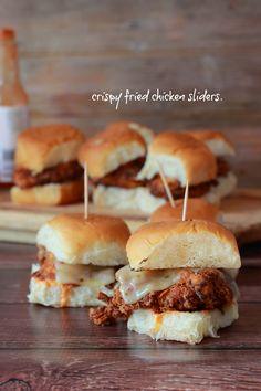 Crispy Fried Chicken Sliders with Buffalo Sauce