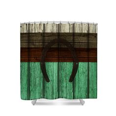 Shower Curtain Rustic Turquoise Weathered Barn by FolkandFunky