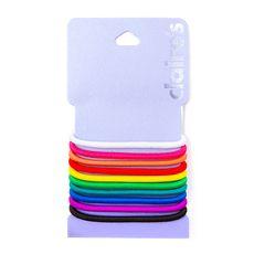 Rainbow Elastic Ponytail Holders Set of 10