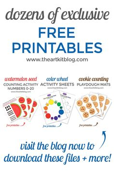 Free printables for kids including playdough mats, counting activities, easy crafts for kids, and more! Sign up for The Art Kit's newsletter today to receive access to our entire resource library of free printables. From www.theartkitblog.com