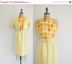 20% OFF SHOP SALE..//.. vintage 1960s 2pc dress and jacket  / 60s mustard yellow dress/ 1960s floral dress