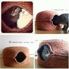 Glue two baskets together for an easy  cat hide away space! Cat DIY crafts - cute cat furniture