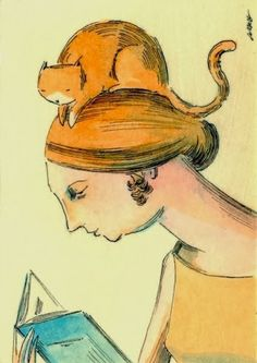 Splashes in the World: Women, cats and books / Mujeres y gatos libros / Women… Illustrations, Book Illustration, Crazy Cat Lady, Crazy Cats, Image Avatar, Library Art, Woman Reading, Reading Art, Lectures