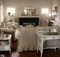 Love the ruffled sofa and chair