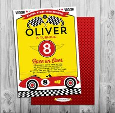 Race Car Invitation | Printable | Boys Birthday Party Invite | Red Yellow Black | See our Shop for Race Car Themed Party Decorations