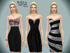 The Sims Resource: Black&Glitter dress by Paogae • Sims 4 Downloads