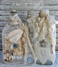 Best ideas for shabby chic diy projects decoupage altered bottles Antique Bottles, Vintage Bottles, Bottles And Jars, Glass Bottles, Perfume Bottles, Mason Jars, Wine Bottle Crafts, Jar Crafts, Bottle Art