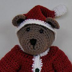 PDF Crochet Pattern - 10 inch Bear in Santa outfits