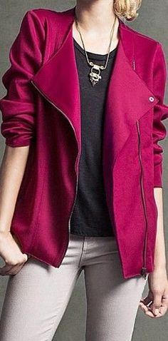 Berry Colored Jacket.  I don't like the massive lapels but the color is  beautiful
