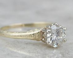 Antique Art Nouveau Green Gold and Diamond Engagement Ring XEXUYC-P