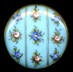 Uber Pretty Antique Glass Button, Set in Metal..Tiny Hand Painted Enamel Flowers
