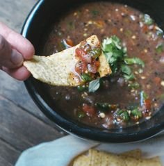 Hot & Smoky Roasted Poblano Pepper Salsa  makes about 1 1/2 cups  2 poblano peppers  1/2 pound tomatoes, cored   1/2 small red onion  1 lime, juiced, about 2 tablespoons  Chunky salt  Cilantro leaves, to garnish